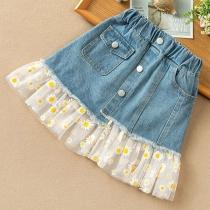 Sweet Style Daisy Gauze Spliced Hem High Waist Denim Skirt for Kids