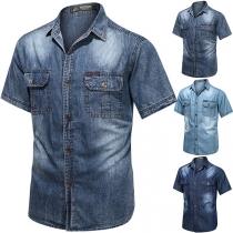 Casual Style Short Sleeve POLO Collar Man's Denim Shirt