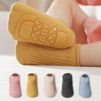 Fashion Solid Color Anti-slip Floor Baby Socks Toddler Socks  2 Pair/Set