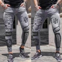 Casual Style Middle Waist Slim Fit Printed Man's Pants Jeans
