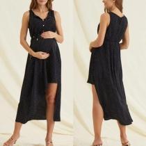 Fashion Sleeveless V-neck Irregular Hem Dots Printed Maternity Dress