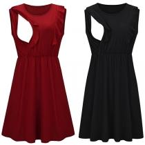 Fashion Solid Color Ruffle Cuff Sleeveless Round Neck Breastfeeding Dress