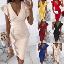 Sexy V-neck Ruffle Cuff High Waist Solid Color Slim Fit Dress