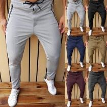 Casual Style Elastic Drawstring Wauist Zipper Pocket Man's Casual Pants