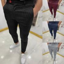 Casual Style High Waist Man's Stripe Pants
