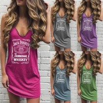 Casual Style Sleeveless V-neck Letters Printed T-shirt Dress