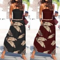 Sexy Strapless High Waist Leaf Printed Hem Summer Dress