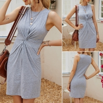 Fashion Solid Color Sleeveless Round Neck Slim Fit Twisted Dress