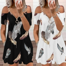 Sexy Off-shoulder Short Sleeve Feather Printed Chain Sling Romper