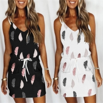 Sexy Backless V-neck Drawstring Waist Feather Printed Sling Dress