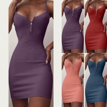Sexy Backless V-neck Solid Color Sling Tight Dress