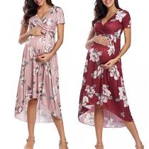 Sexy V-neck Short Sleeve High Waist High-low Hem Printed Tie-belt Maternity Dress
