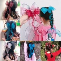 Sweet Style Bow-knot Fishtail Ribbon Gauze Headwear for Children   3 Piece/Set