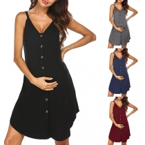 Fashion Solid Color V-neck Single-breasted Sling Lactation Dress
