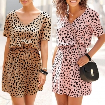 Sexy V-neck Short Sleeve Elastic High Waist Leopard Printed Dress