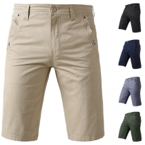 Casual Style Solid Color Slanted-pocket Middle Waist Man's Knee-length Shorts