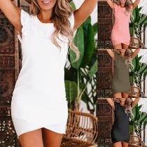 Elegant Solid Color Ruffle Cuff Irregular Crossover Hem Slim Fit Dress