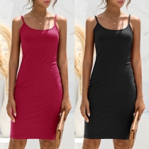 Simple Style Backless Solid Color Slim Fit Sling Tight Dress