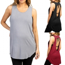 Sexy Backless Sleeveless Round Neck Solid Color Loose Tank Top for Pregnant Woman