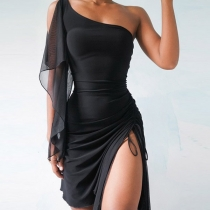 Sexy One-shoulder Drawstring Slit Hem Ruffle Sleeveless Slim Fit Dress