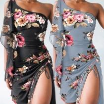 Sexy One-shoulder Drawstring Slit Hem Ruffle Sleeveless Slim Fit Printed Dress