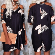 Sexy Hollow Out Short Sleeve V-neck Rhinestone Spliced Printed Dress