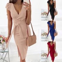 Sexy V-neck Slit Hem Puff Sleeve Solid Color Slim Fit Tie-belt Dress