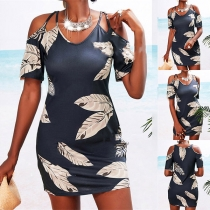 Sexy Off-shoulder Short Sleeve Feather Printed Slim Fit Sling Dress