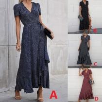 Sexy V-neck Irregular Ruffle Hem Short Sleeve High Waist Printed Maxi Dress