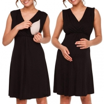 Simple Style Sleeveless V-neck High Waist Solid Color Lactation Dress
