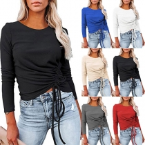 Fashion Solid Color Long Sleeve Round Neck Drawstring T-shirt