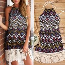 Bohemian Style Backless Tassel Hem Printed Halter Dress