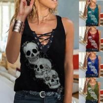 Retro Style Lace-up V-neck Sleeveless Skull Head Printed T-shirt