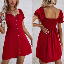 Fashion Solid Color Puff Sleeve Square Collar Front-button Solid Color Dress