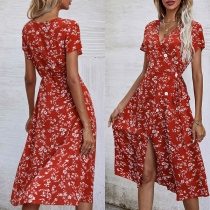 Fresh Style Short Sleeve V-neck Slit Hem Tie-belt Printed Summer Dress