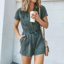 Fashion Solid Color Short Sleeve Notched Lapel Drawstring High Waist Romper