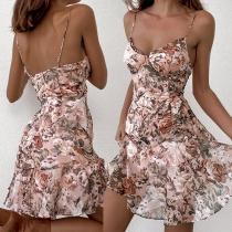 Sweet Style Backless V-neck Ruffle Hem Chiffon Printed Sling Dress