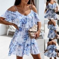 Sexy Off-shoulder High Waist Ruffle Printed Sling Dress