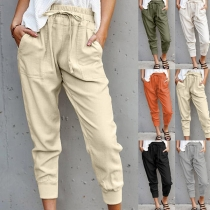 Casual Style Solid Color Elastic Drawstring Waist Loose Pants