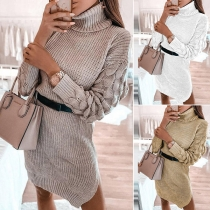 Fashion Solid Color Long Sleeve Turtleneck Sweater Dress