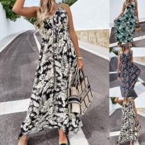Bohemian Style Backless V-neck High Waist Printed Sling Beach Dress