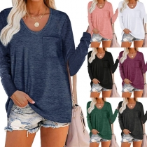 Casual Style Long Sleeve Round Neck Solid Color Pocket T-shirt