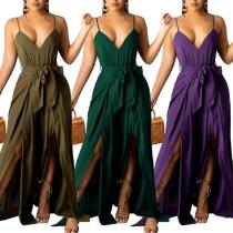 Sexy Backless V-neck Slit Hem High Waist Solid Color Wide-leg Sling Jumpsuit