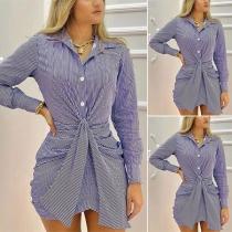 OL Style Long Sleeve POLO Collar Twisted Tie-belt Stripe Shirt Dress