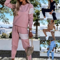 Casual Style Long Sleeve Round Neck Sweatshirt + Pants Sports Suit