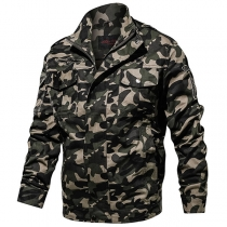 Fashion Camouflage Printed Long Sleeve Stand Collar Man's Jacket