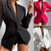 OL Style Long Sleeve Slim Fit Blazer + Shorts Two-piece Set