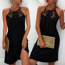 Sexy Off-shoulder Lace Spliced Solid Color Sling Dress