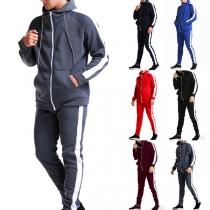 Fashion Contrast Color Hooded Sweatshirt Coat + Pants Man's Sports Suit