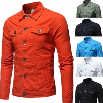 Fashion Solid Color Long Sleeve POLO Collar Single-breasted Man's Denim Coat